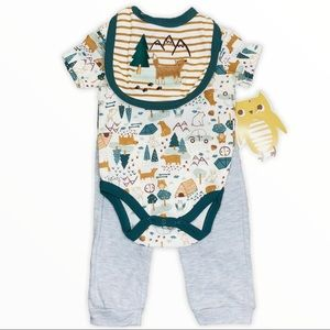 CJP BABY 3pc Fox Bear/CAMPING OUTFIT 3-6M New NWT
